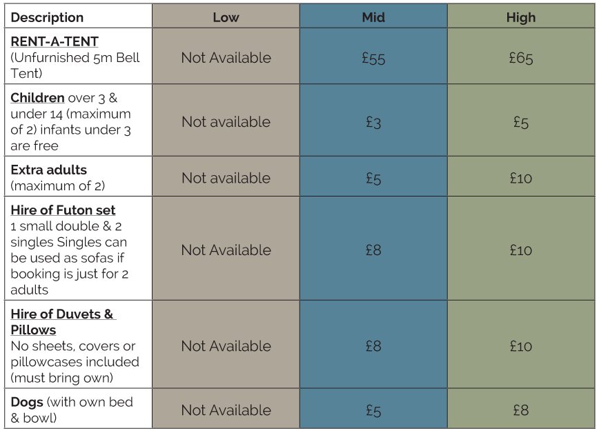 Bell-tents-price-list