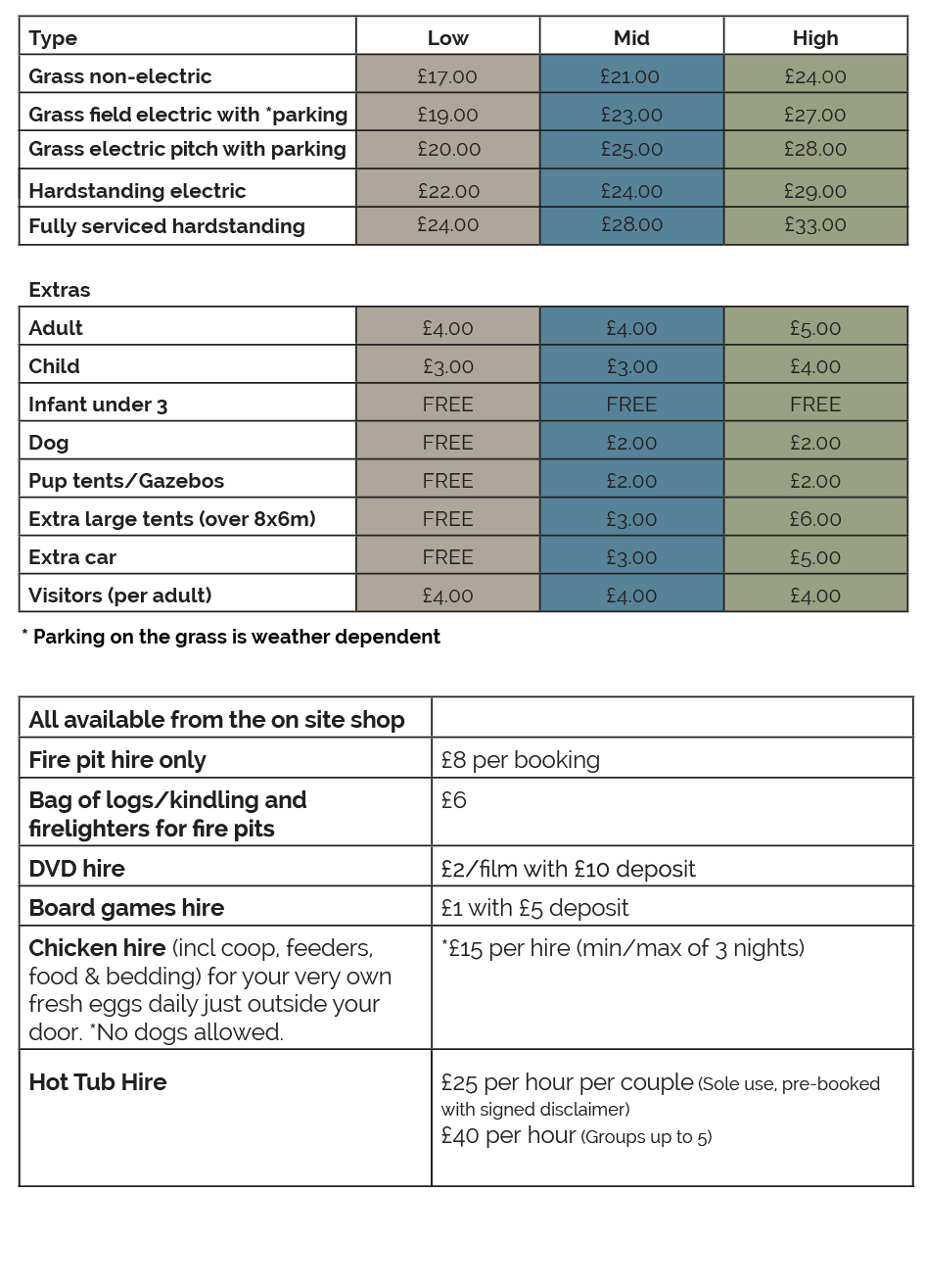 Camping-pricelist-2019